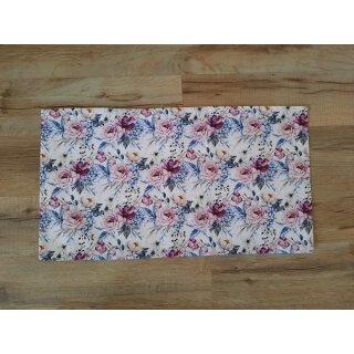 Kissenbezug 25x45 cm ohne Füllung Rosa Blumen auf Weiß